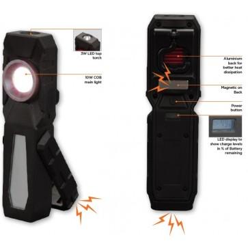 Ročna akumulatorska svetilka COB 10W, 3W LED, 500 LM, z magnetom in zaponko + powerbank - 55088 [LED/396]