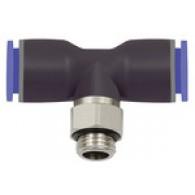 Priključek T »modra serija«, vrtljivo, G 1/4 zunaj Φ 6 mm [131.014-6]