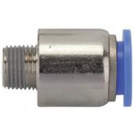 Priključek ravni vtični »modra serija«, okrogel, R1/8 zunanji, za cev fi 8mm, max. 15bar [208.018-8]