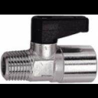 Ventil krogelni mini z zasukom, ponikljana medenina, R / Rp 1/4 AG / IG [371.05]