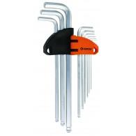 Garnitura ključev inbus za kotno vijačenje, ekstra dolgi, 1,5-10,0mm, 9 kos, S2 STEEL- 36103 [ALN/HX-BL/9EL/GRZ]