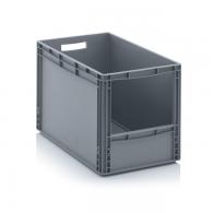 Skladiščni zaboj, 600x400x420, siv - odprt SLK 64/42